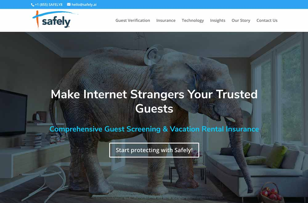 Safely AI Vacation Rental Insurance - Website Homepage