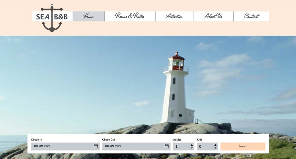 Wix Vacation Rental Website Template - Beach House Bed and Breakfast