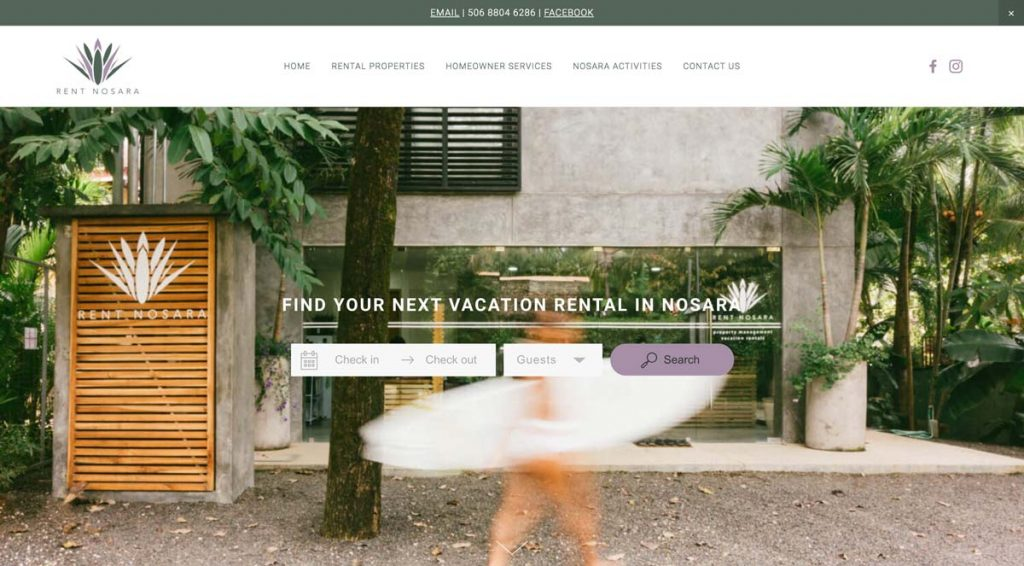 Rent Nosara - Squarespace + Lodgify Direct Booking Website