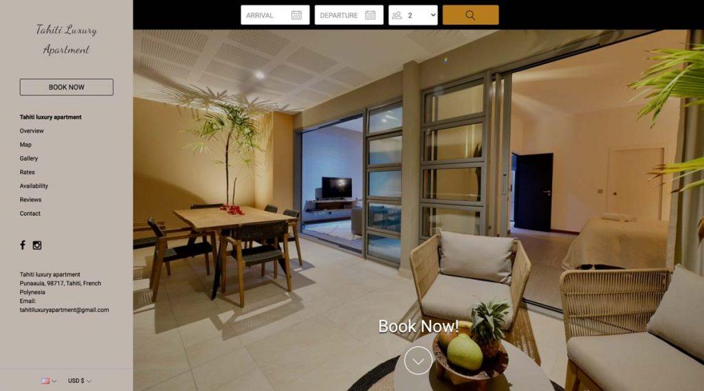Lodgify Website Example - Tahiti Luxury Apartment