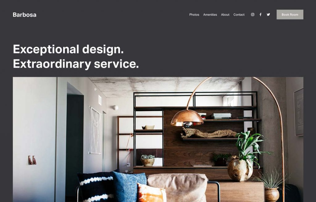 Squarespace Vacation Rental Website Template - Barbosa