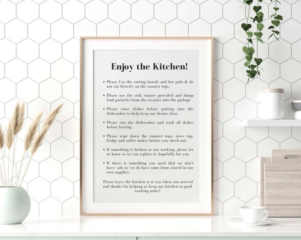 Airbnb Vacation Rental Sign - Kitchen Rules