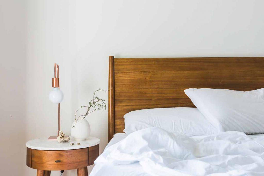 White Airbnb bedding